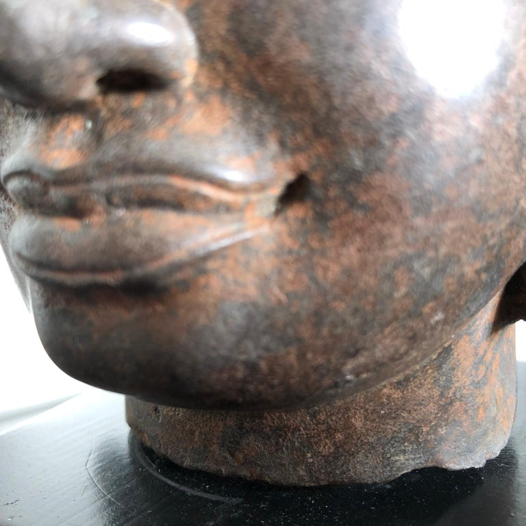 Superb Antique Peaceful Buddha Head, 18th Century with Custom Stand For Sale 2