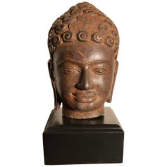 Superb Antique Peaceful Buddha Head, 18th Century with Custom Stand
