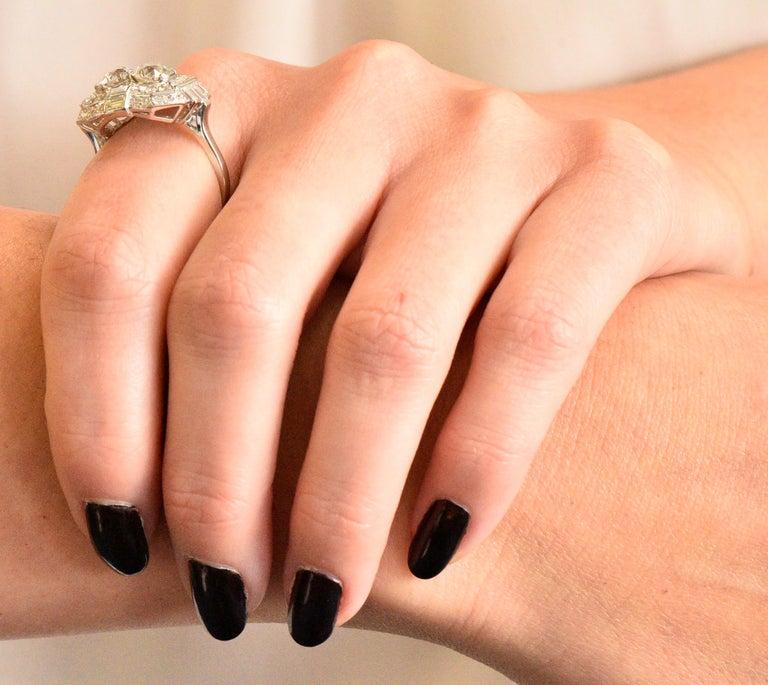 Superb Art Deco 3.50 Carat Double Diamond Platinum Alternative Engagement Ring 5