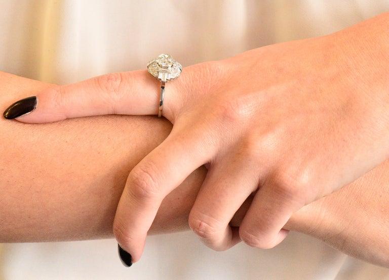 Superb Art Deco 3.50 Carat Double Diamond Platinum Alternative Engagement Ring 6