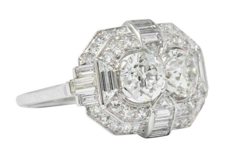 Round Cut Superb Art Deco 3.50 Carat Double Diamond Platinum Alternative Engagement Ring