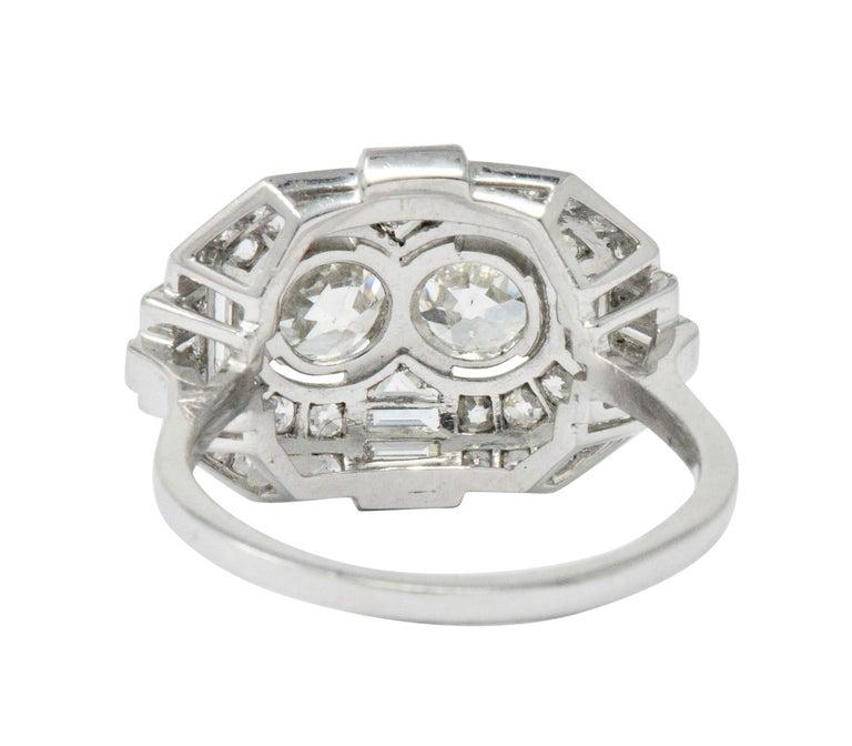 Women's or Men's Superb Art Deco 3.50 Carat Double Diamond Platinum Alternative Engagement Ring