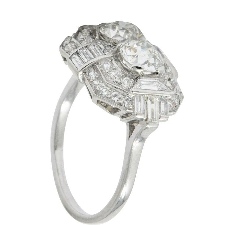 Superb Art Deco 3.50 Carat Double Diamond Platinum Alternative Engagement Ring 2
