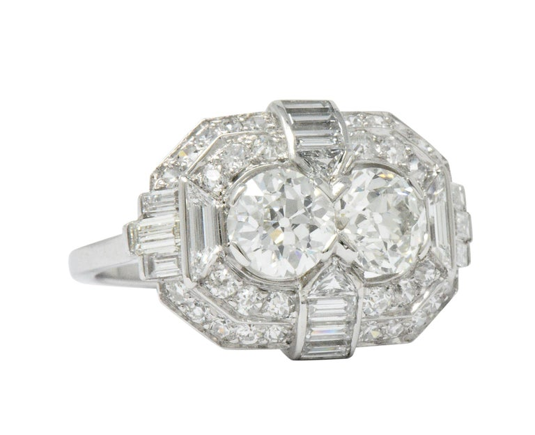 Superb Art Deco 3.50 Carat Double Diamond Platinum Alternative Engagement Ring 3