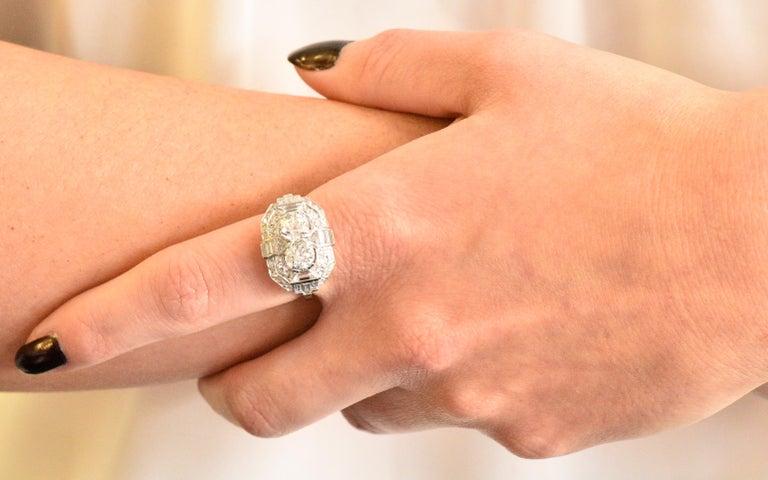 Superb Art Deco 3.50 Carat Double Diamond Platinum Alternative Engagement Ring 4