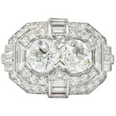 Superb Art Deco 3,5 Karat Doppel Diamant Platin Alternativer Verlobungsring
