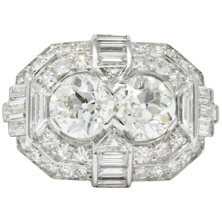 Superb Art Deco 3.50 Carat Double Diamond Platinum Alternative Engagement Ring