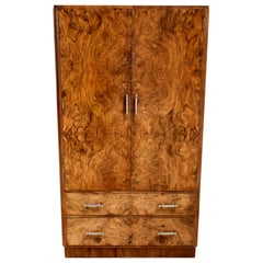 Superb Art Deco Burl Walnut Tallboy, circa 1930