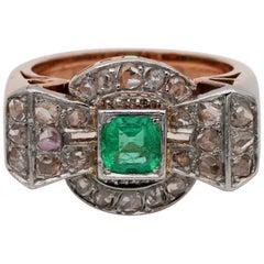 Superb Art Deco Emerald and Diamond Bow Ring