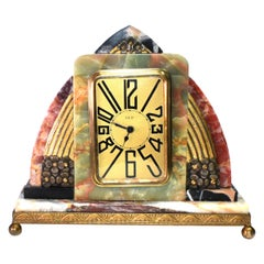 aSuperb Art Deco French Marble clock, 1930s