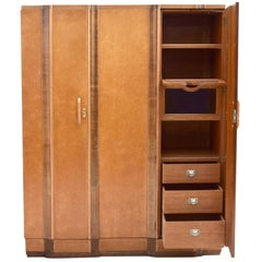 Superb Art Deco Triple Door Maple Wardrobe, circa 1930