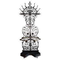 Superb Arts & Crafts Hand Forged Wrought Iron Hall Coat Rack and Umbrella Stand