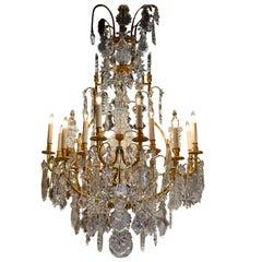 Superb Baccarat Gilt Bronze and Crystal Chandelier
