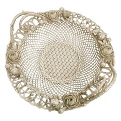Superb Belleek Porcelain Basket, 2nd Period 1891-1926