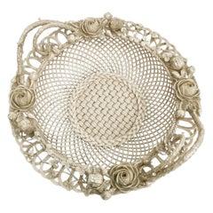 Superb Belleek Romantic White Porcelain Basket, Victorian 1863-1891