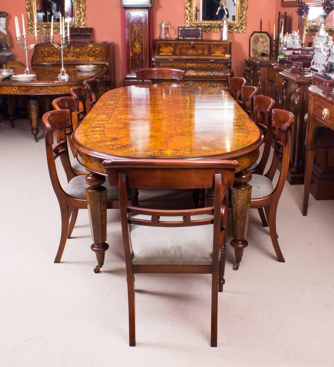 This is a fantastic bespoke handmade Victorian style marquetry dining table in burr walnut complete with & Superb Bespoke Handmade Burr Walnut Marquetry Dining Table Ten ...