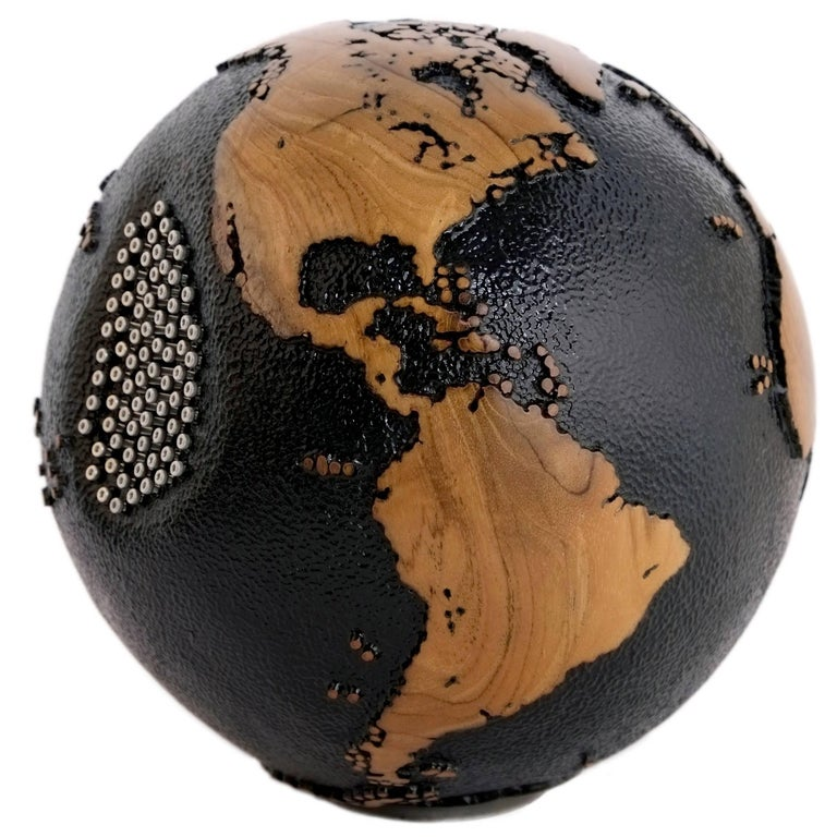 Superb Black Beauty Wooden Globe with 79 Stainless Bolts, 20 cm, Saturday Sale
