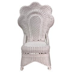 Superb Blush Pink Scallop Victorian Wicker Chair
