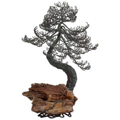 Superb Bronze Bonsai Tree Table Sculpture 1960s