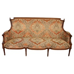 Superb Carved Walnut French Louis XVI Settee Canape Sofa circa 1940