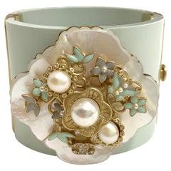 Superb CHANEL Cuff Bracelet in Light Blue Resin, Pearl, Rhinestones