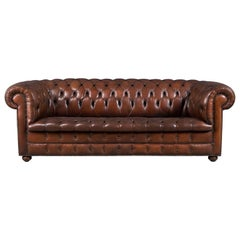 Superb Chesterfield Leather Sofa with Button Down Seat