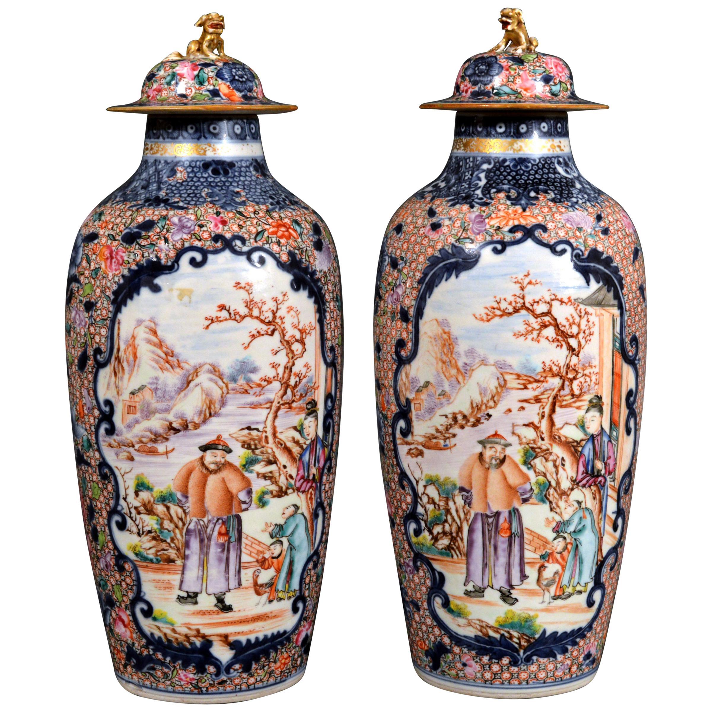 Superb Chinese Export Porcelain Mandarin Vases & Covers, circa 1780