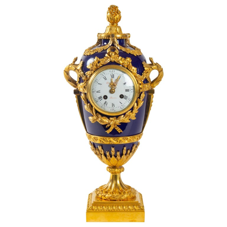 Superb Clock, Giltbronze and Blue Enamel by Beurdeley, Paris, France, circa 1850 For Sale