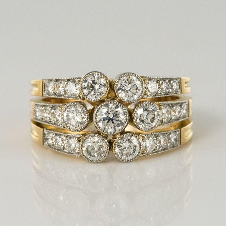 Modern Diamond Gold 3-Band Ring For Sale 2