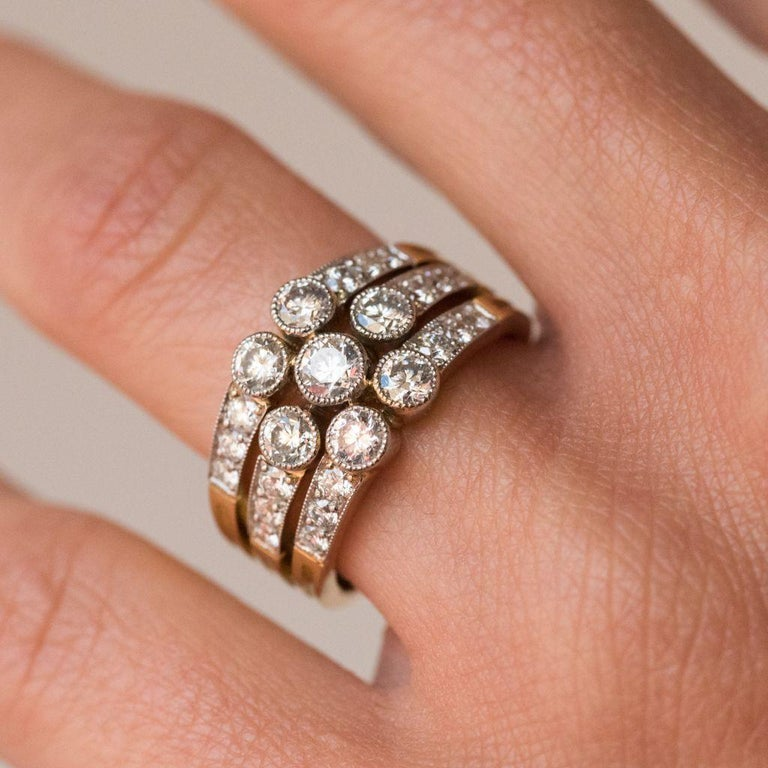 Modern Diamond Gold 3-Band Ring For Sale 3
