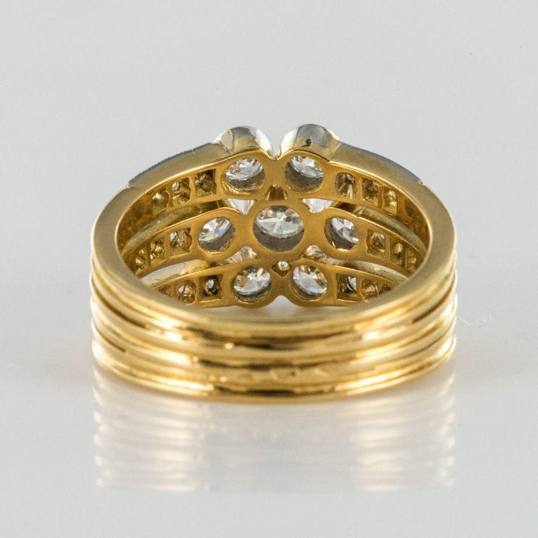 Modern Diamond Gold 3-Band Ring For Sale 4