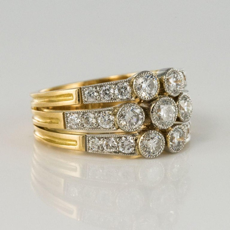 Modern Diamond Gold 3-Band Ring For Sale 5