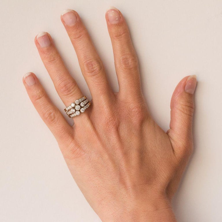 Modern Diamond Gold 3-Band Ring For Sale 6