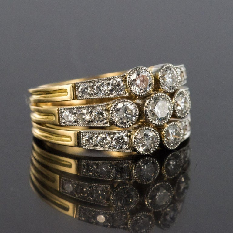 Modern Diamond Gold 3-Band Ring For Sale 7