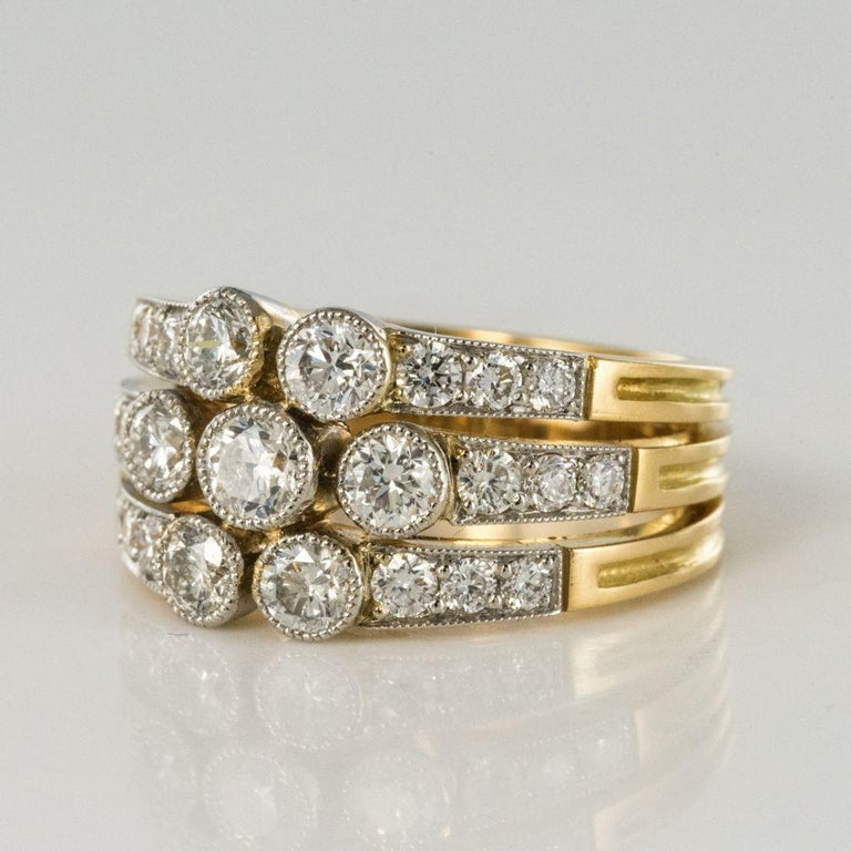 Modern Diamond Gold 3-Band Ring In New Condition For Sale In Poitiers, FR