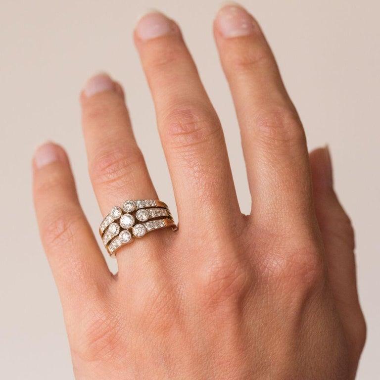 Women's Modern Diamond Gold 3-Band Ring For Sale
