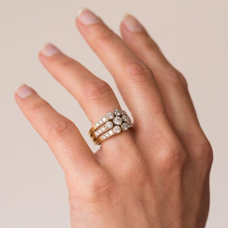 Modern Diamond Gold 3-Band Ring For Sale 1