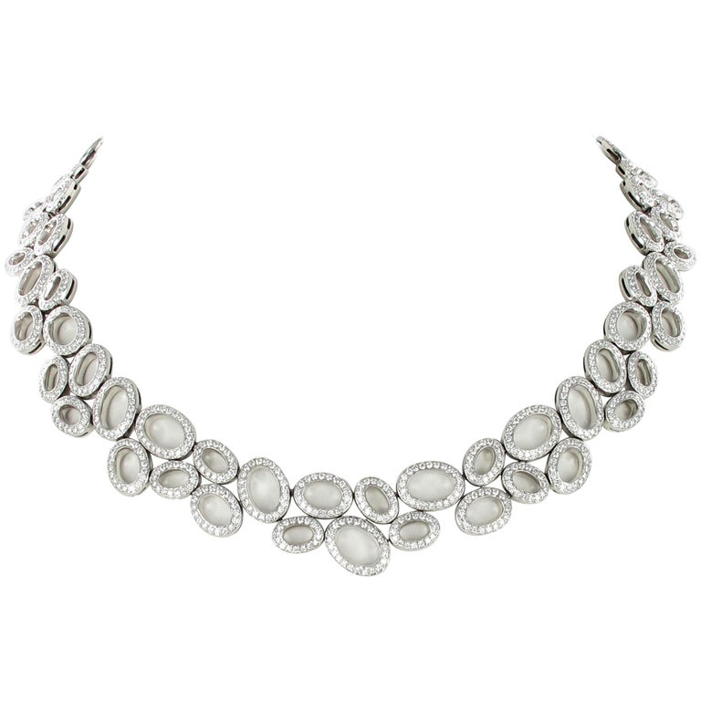 Superb Diamond Necklace in White Gold by Gübelin For Sale