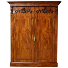 Superb Early Victorian 2-Door Wardrobe in Mahogany