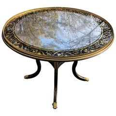 Superb Eglomise and Gilded Round End or Center Table by Julia Gray