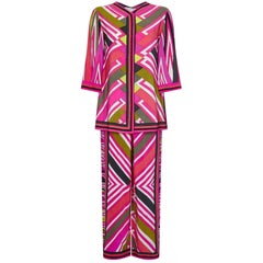 Superb Emilio Pucci 1960s Geometric Print Silk Trouser Lounging Set