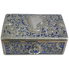 Superb English Silver and Enamel Casket by William Comyns