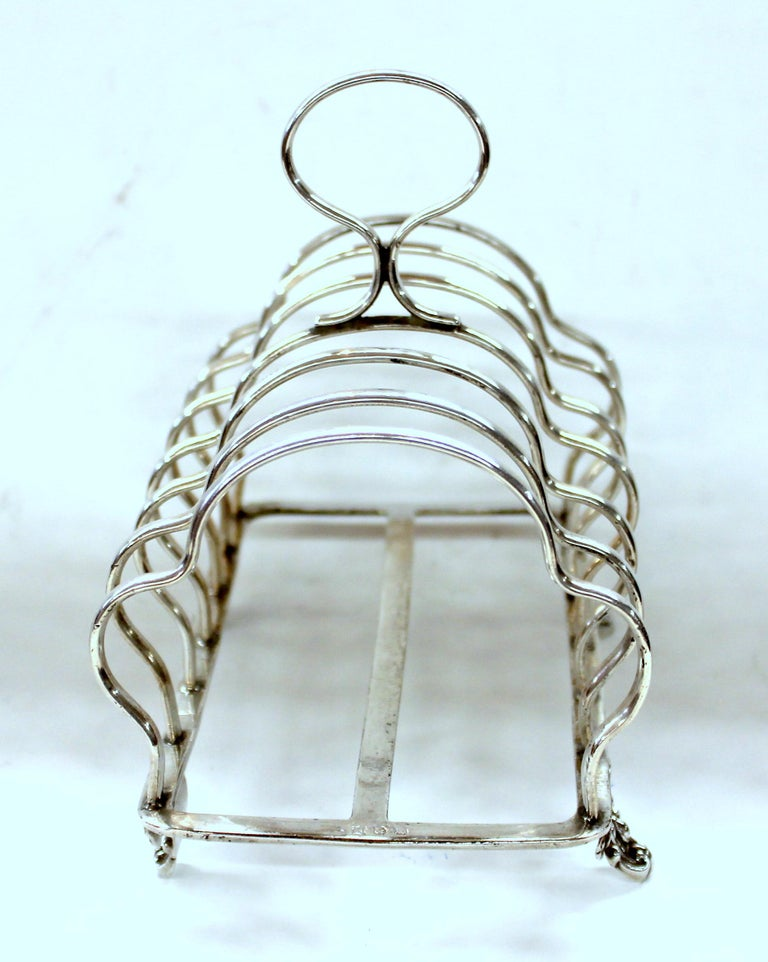 19th Century Superb English Silver Plate Seven-Bar Toast or Letter Rack on Lovely Cast Feet For Sale