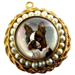 Superb Essex Crystal French Bulldog or Boston Terrier Pearl Gold Charm Pendant