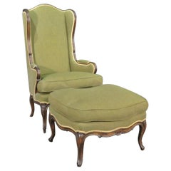Superb French 5 Leg Carved Walnut Louis XV Chair and Ottoman