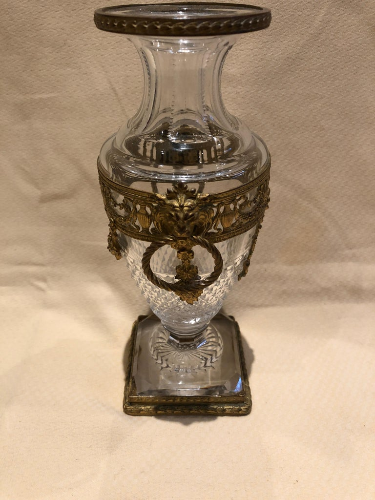 Superb French Cut Crystal and Ormolu Mounted Vase In Good Condition For Sale In Hopewell, NJ
