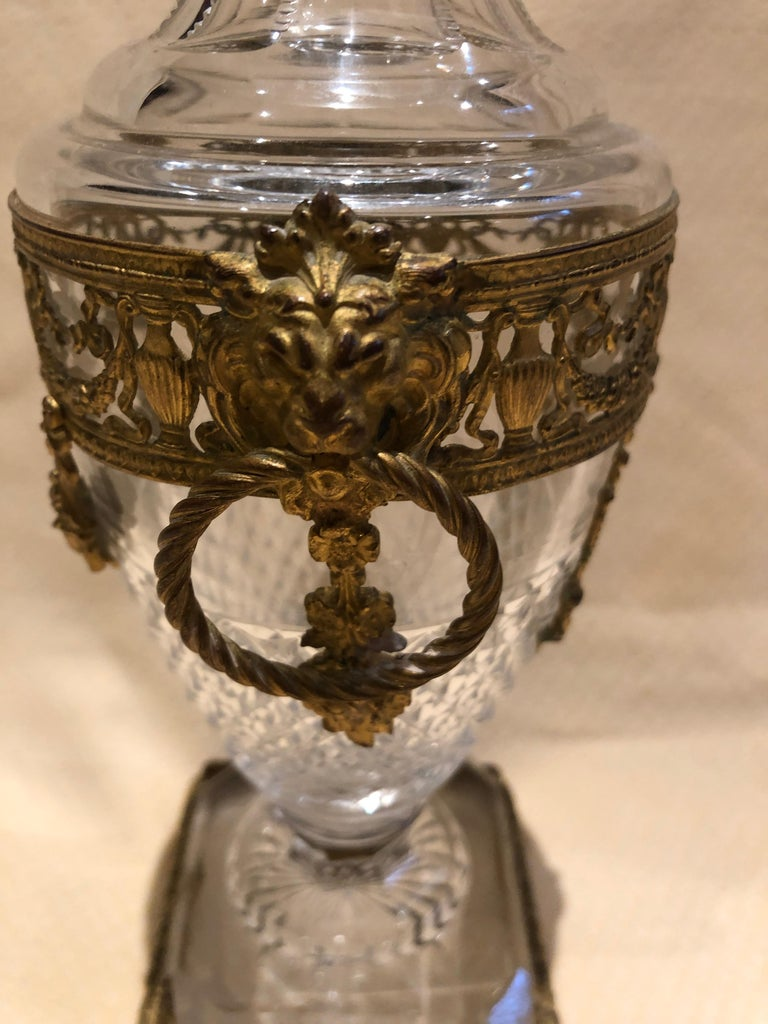 Bronze Superb French Cut Crystal and Ormolu Mounted Vase For Sale