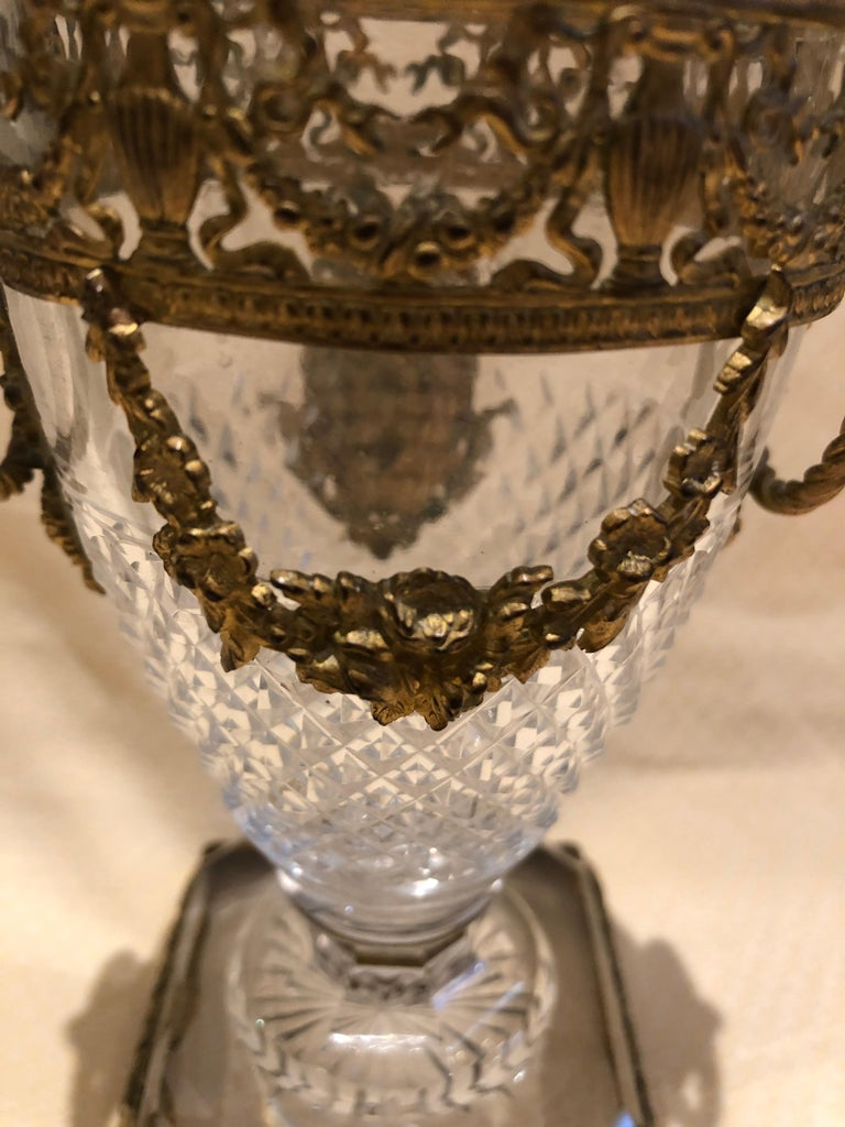 Superb French Cut Crystal and Ormolu Mounted Vase For Sale 1