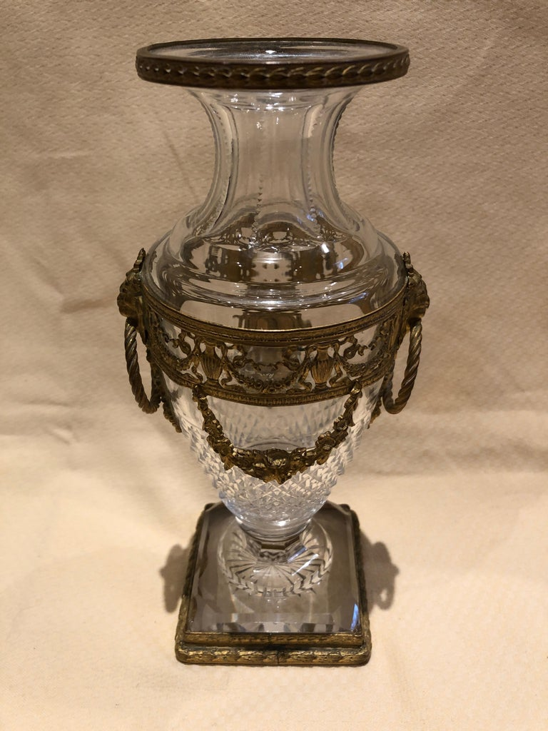 Superb French Cut Crystal and Ormolu Mounted Vase For Sale 2