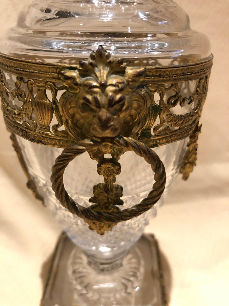 Superb French Cut Crystal and Ormolu Mounted Vase For Sale 3